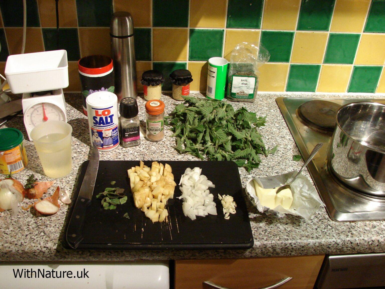 Prepared nettle soup ingredients