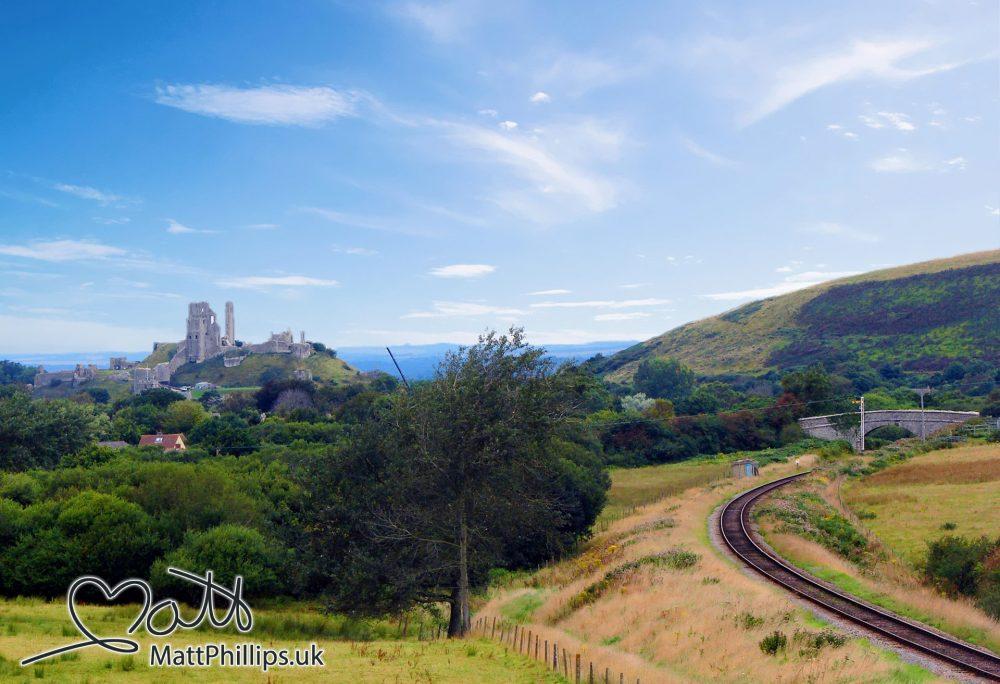 Corfe Castle in the Dorset countryside