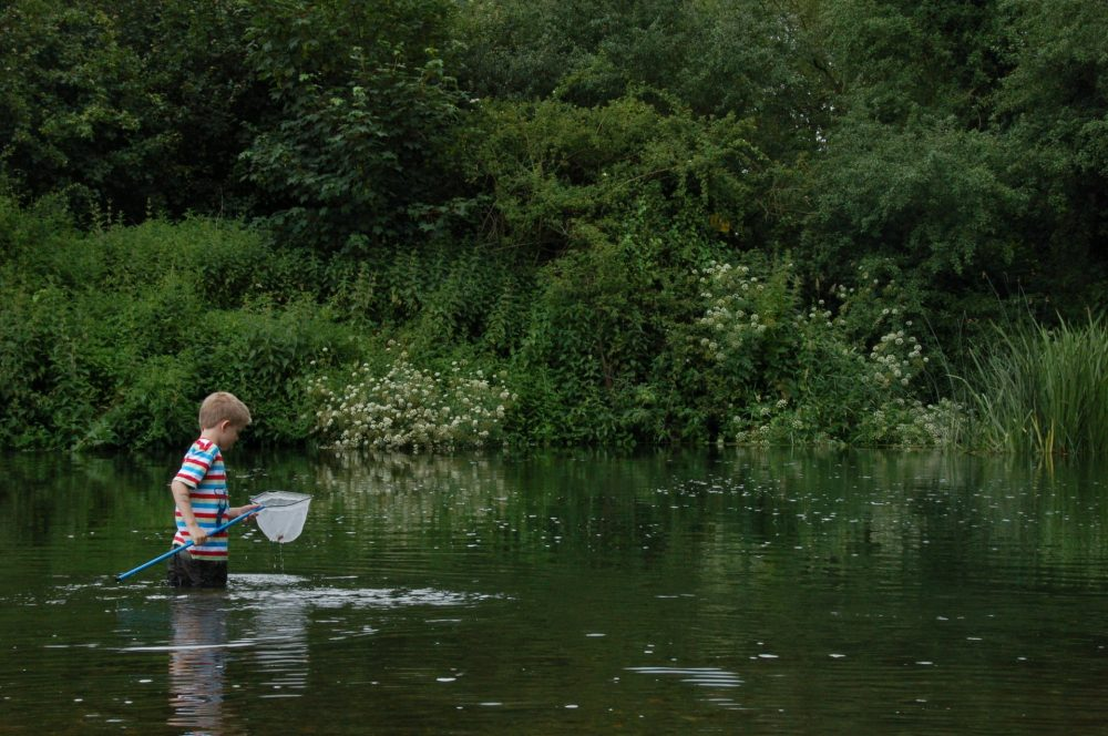 Boy fishing in Surrey